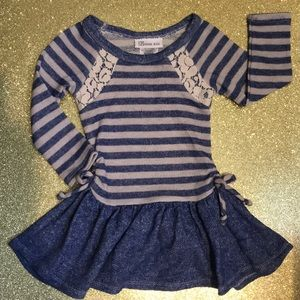 2T striped girls dress with lace accents